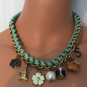 Aqua and gold tone woven chain choker necklace